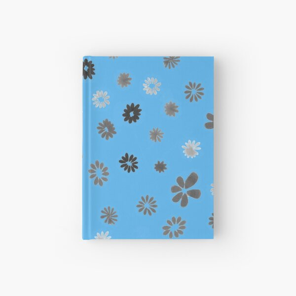 Grey tiny Flowers and blue Hardcover Journal