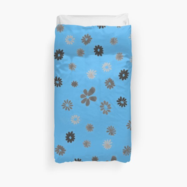 Grey tiny Flowers and blue Duvet Cover
