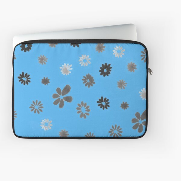 Grey tiny Flowers and blue Laptop Sleeve