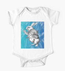 White Rabbit from Alice's Adventures in Wonderland in Blue Watercolor Background One Piece - Short Sleeve