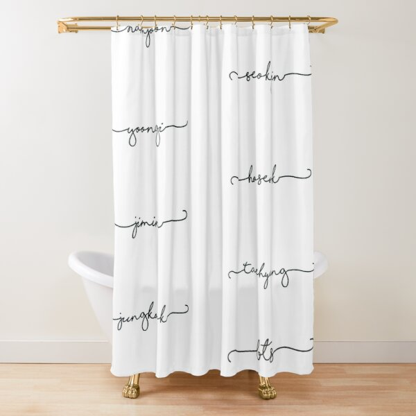 BTS members text Shower Curtain