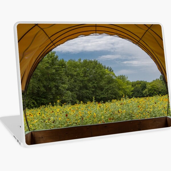 Covered Wagon Sunflower View Laptop Skin