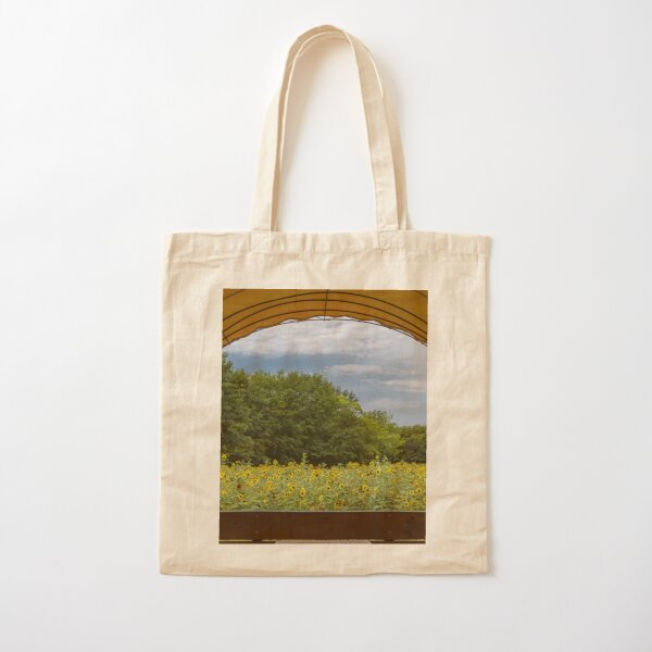 Covered Wagon Sunflower View Cotton Tote Bag