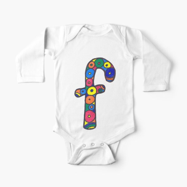 letter f in colorful circles Long Sleeve Baby One-Piece