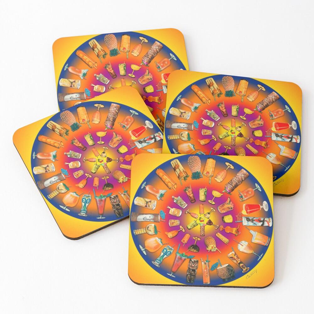 Fabulous Fiftees Coctail Mandala Coasters (Set of 4)
