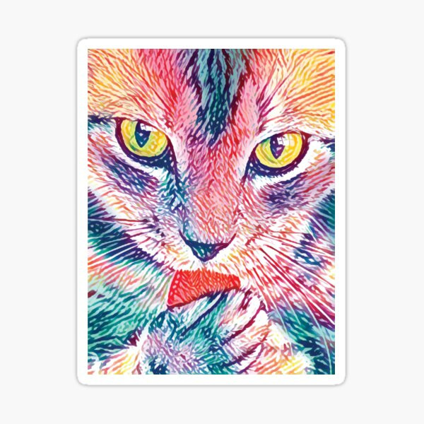 Colorful Cat Art Sticker