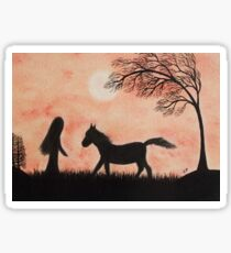 Horse Silhouette: Horse, Girl and Tree with Moon Sticker