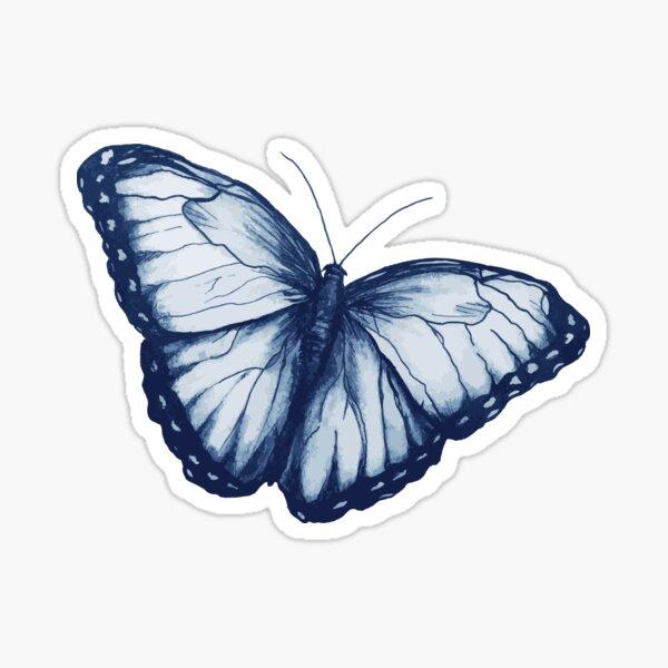 Butterfly Blue Vintage Watercolor Sticker