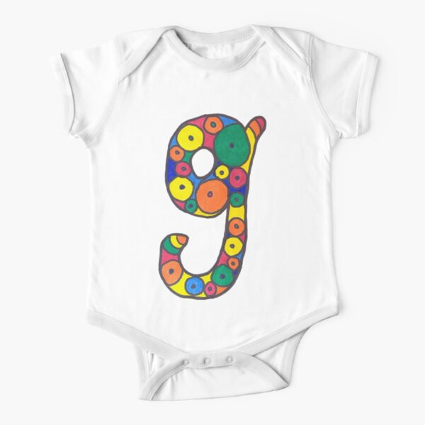 letter g in colorful circles Short Sleeve Baby One-Piece
