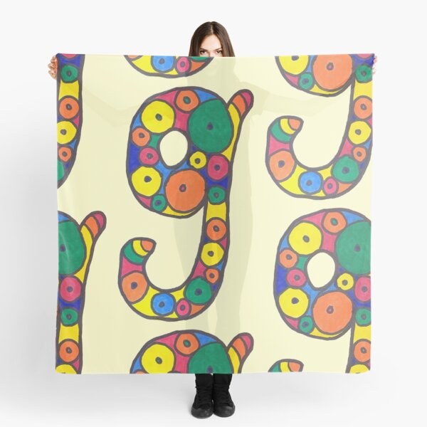 letter g in colorful circles Scarf