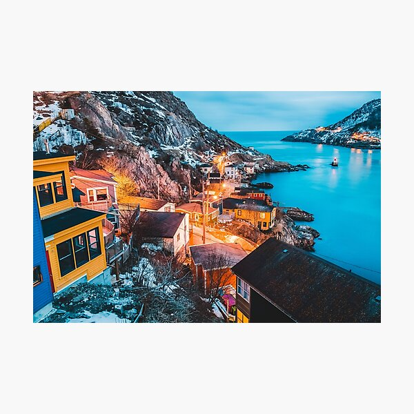 Blue hour sunset in the battery. St. John's, newfoundland, canada Photographic Print