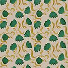 pattern with green flowers by Maria Khersonets