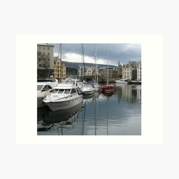 Boats at Alesund Art Print