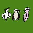 Cockatoo, Kookaburra, Galah Trio by Anne van Alkemade