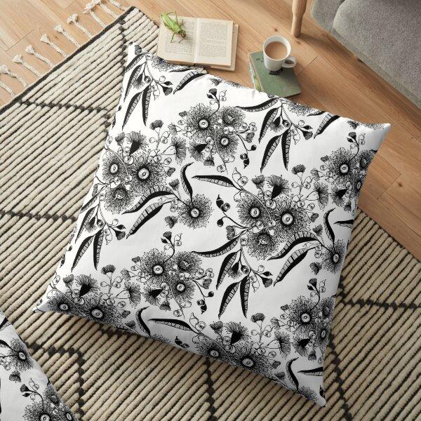 Eucalyptus Bush Flowers - Black and White Floor Pillow
