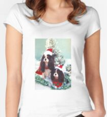 Cavaliers at Christmas Women's Fitted Scoop T-Shirt