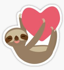 Lying sloth with a big red heart Sticker