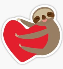 Sloth on a heart Sticker