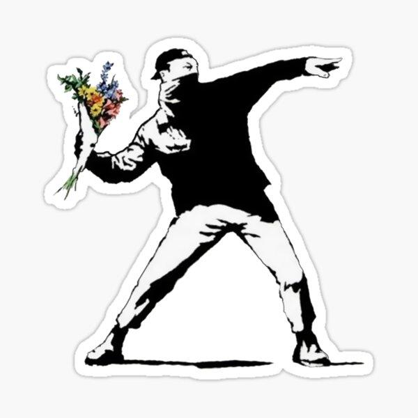 Flores de Banksy Pegatina