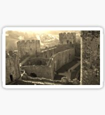 CONWY CASTLE FORTRESS NORTH WALES IN SEPIA Sticker