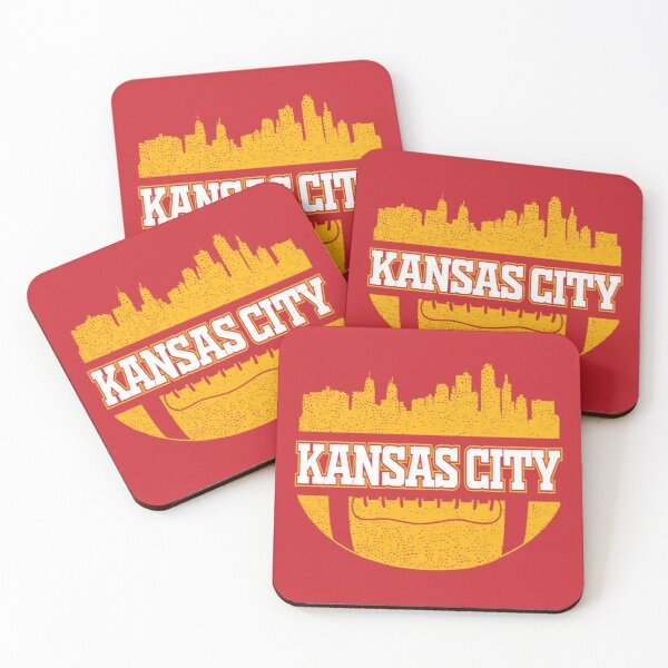 Retro Chiefs Football Fan Vintage Kansas City Skyline Coasters (Set of 4)