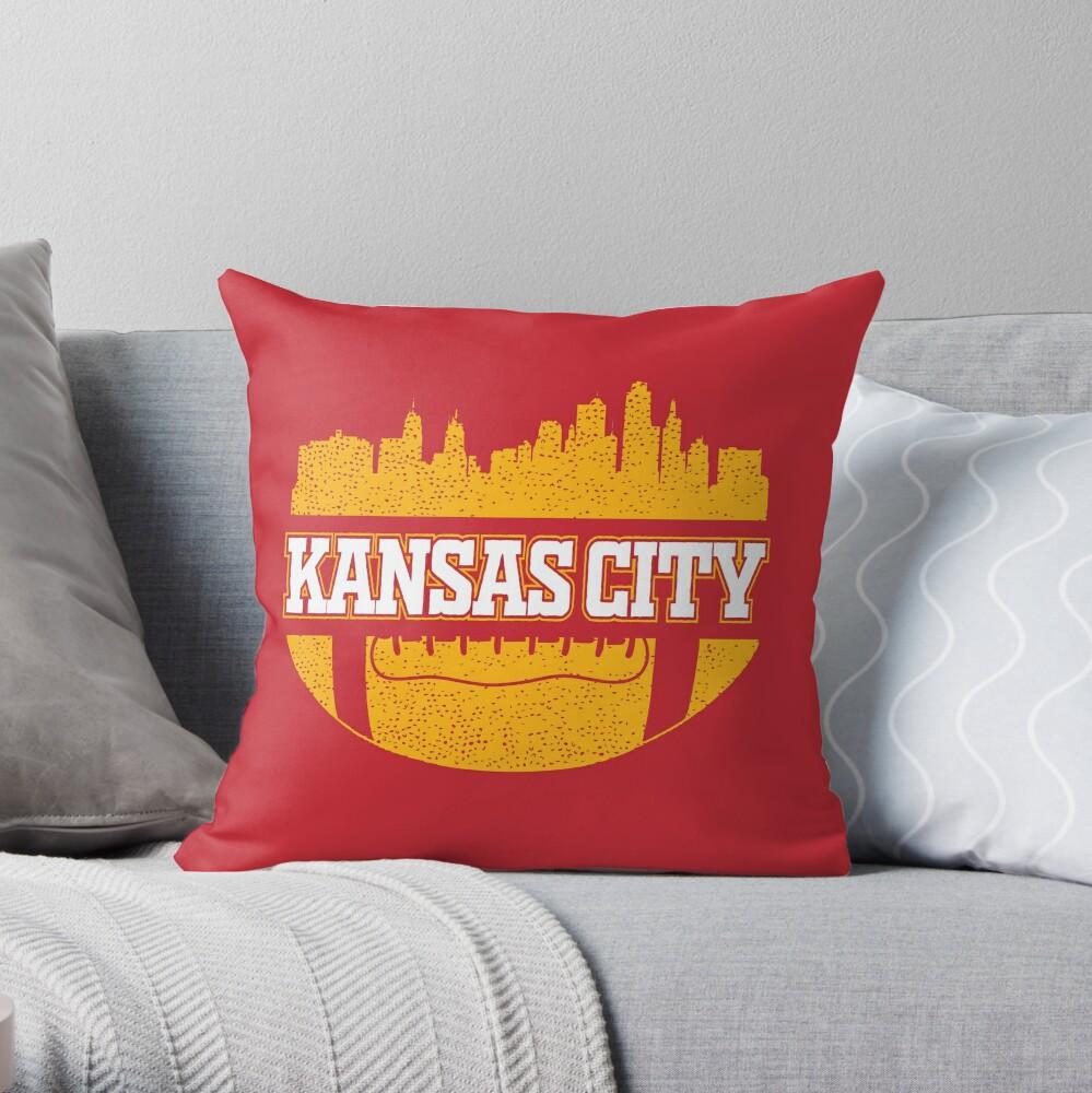 Retro Chiefs Football Fan Vintage Kansas City Skyline Throw Pillow