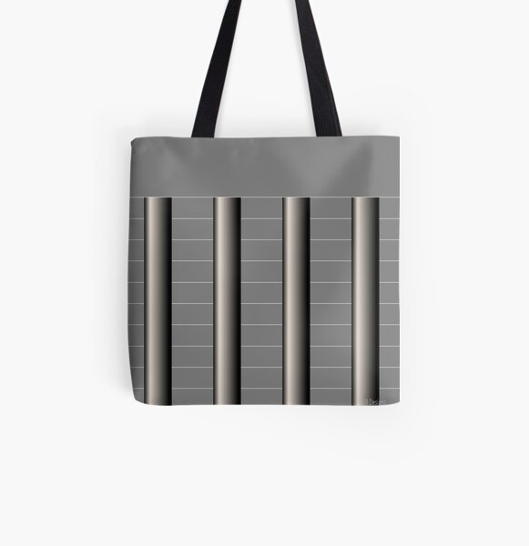 Dynamic Strength grey,black and white geometric design All Over Print Tote Bag
