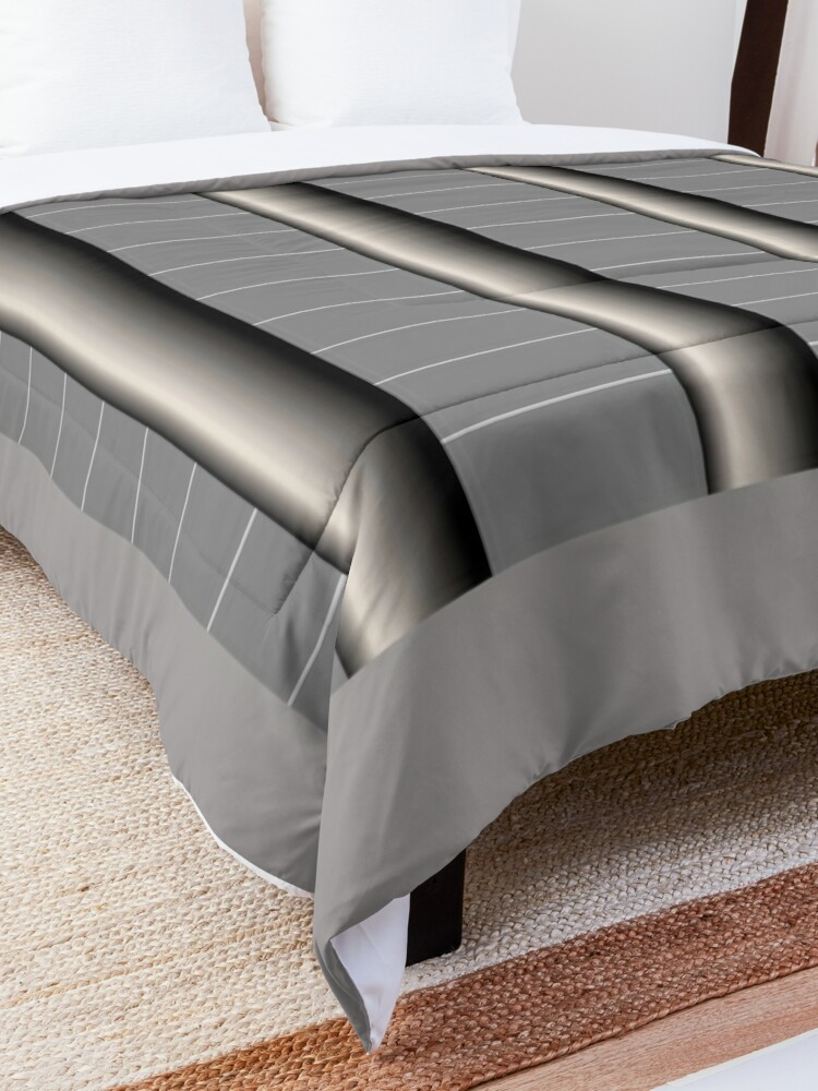 Alternate view of Dynamic Strength grey,black and white geometric design Comforter