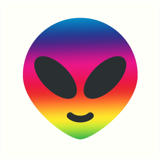Rainbow Alien Emoji Art Prints By Luna Snaps Redbubble