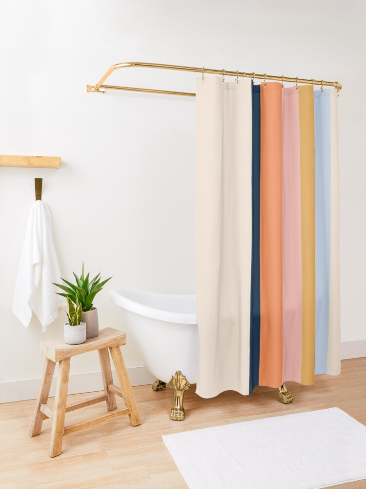 Alternate view of Retro stripes Shower Curtain