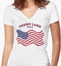 TRUMP  LAND  U.S.A. Women's Fitted V-Neck T-Shirt