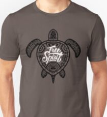 Free Spirit - Green Turtle Illustrative Surfer Style Design T-Shirt