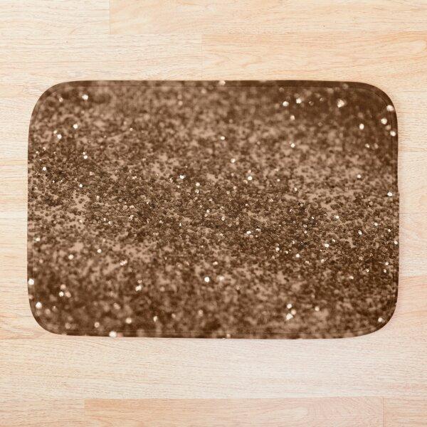 Sparkling Gold Brown Glitter Glam #2 (Faux Glitter) #shiny #decor #art Bath Mat