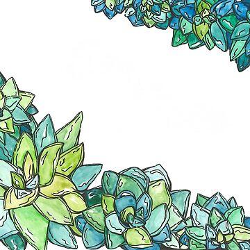 Watercolor succulents  by Ibubblesart