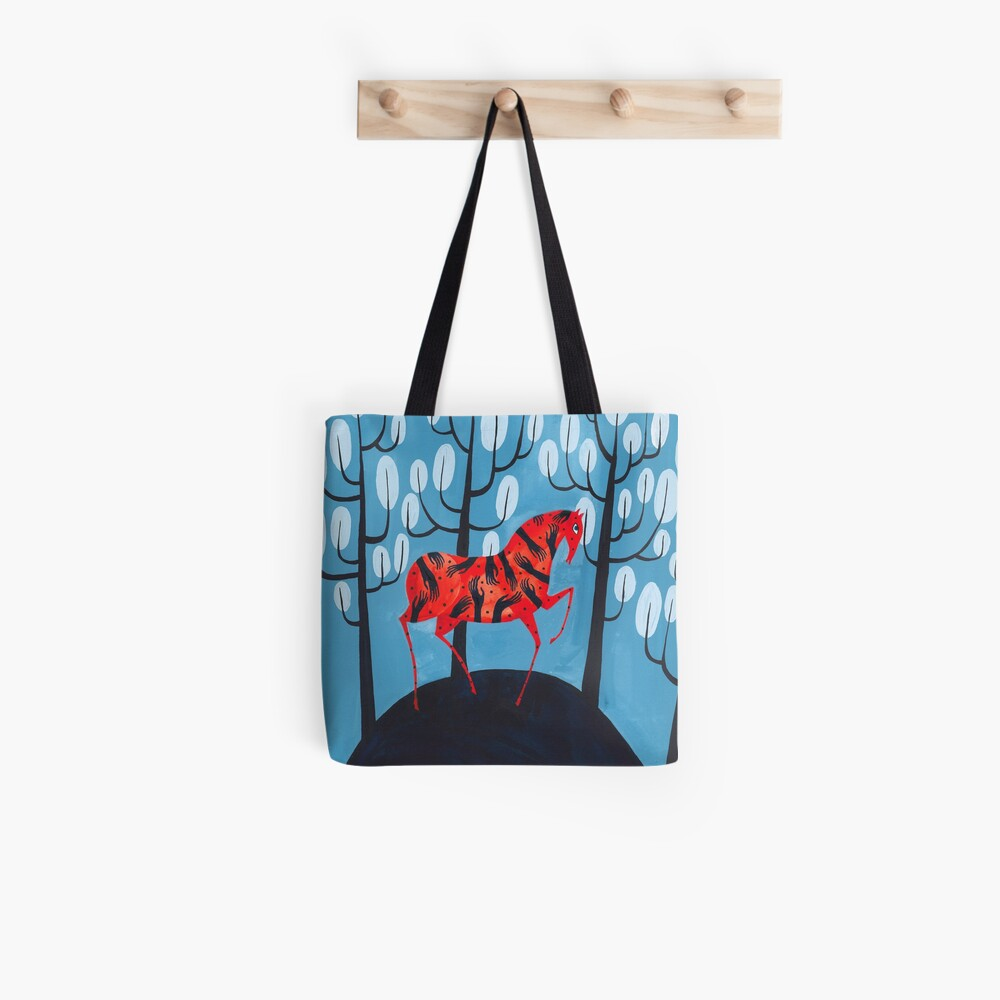 Smug red horse Tote Bag