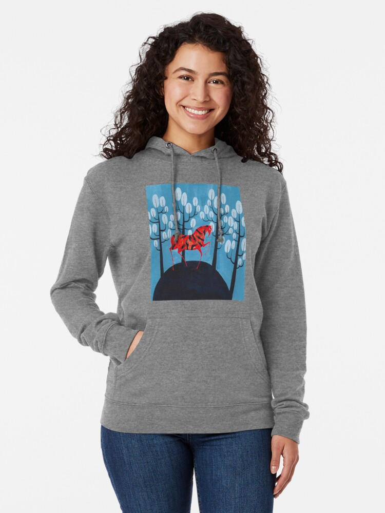 Alternate view of Smug red horse Lightweight Hoodie