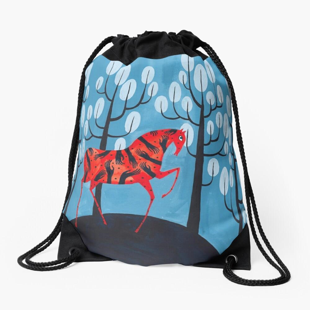 Smug red horse Drawstring Bag