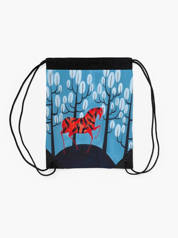 Alternate view of Smug red horse Drawstring Bag