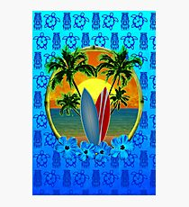 Blue Surfing Sunset Tiki Photographic Print