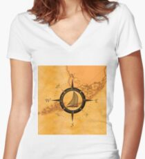 Florida Keys Map Compass Women's Fitted V-Neck T-Shirt