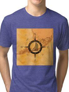 Florida Keys Map Compass Tri-blend T-Shirt