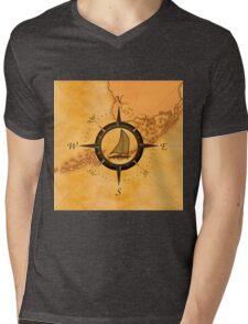 Florida Keys Map Compass Mens V-Neck T-Shirt