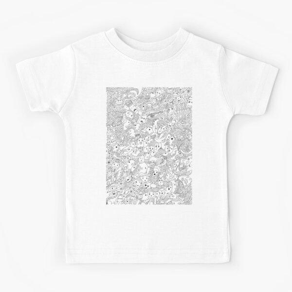 Kids Doodle Heart T-Shirt Girls Childrens Scribble Short Sleeve Novelty Tee Top
