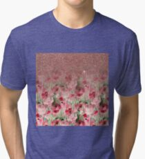 Pretty Faux Rose Gold Glitter on Watercolor Floral Tri-blend T-Shirt