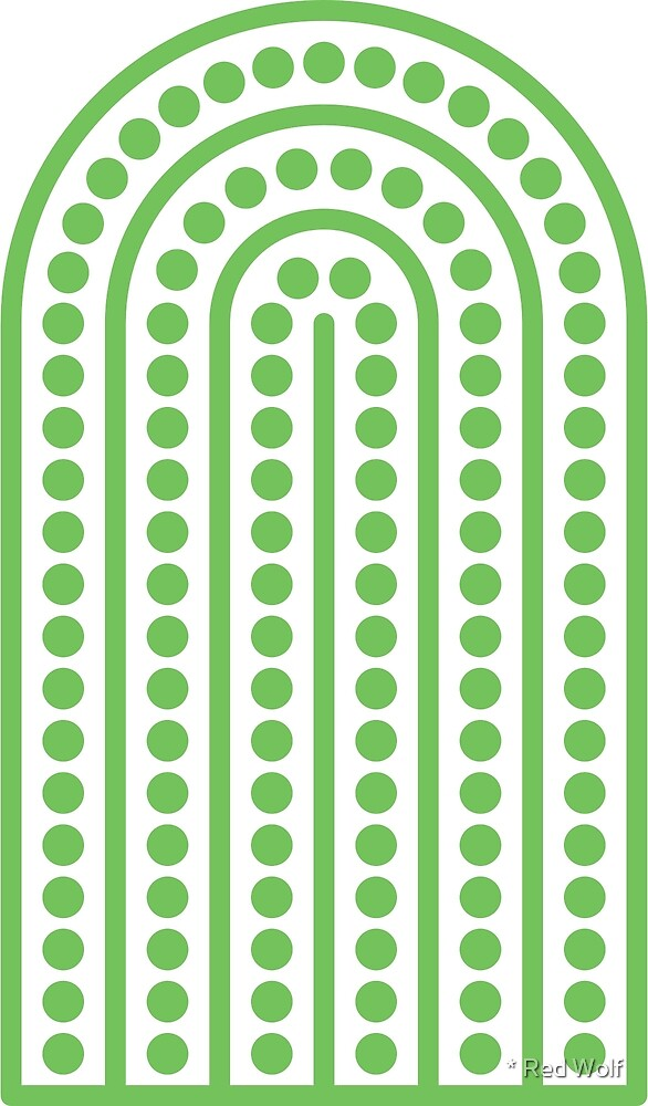 Geometric Pattern: Arch Dot: Green/White by * Red Wolf