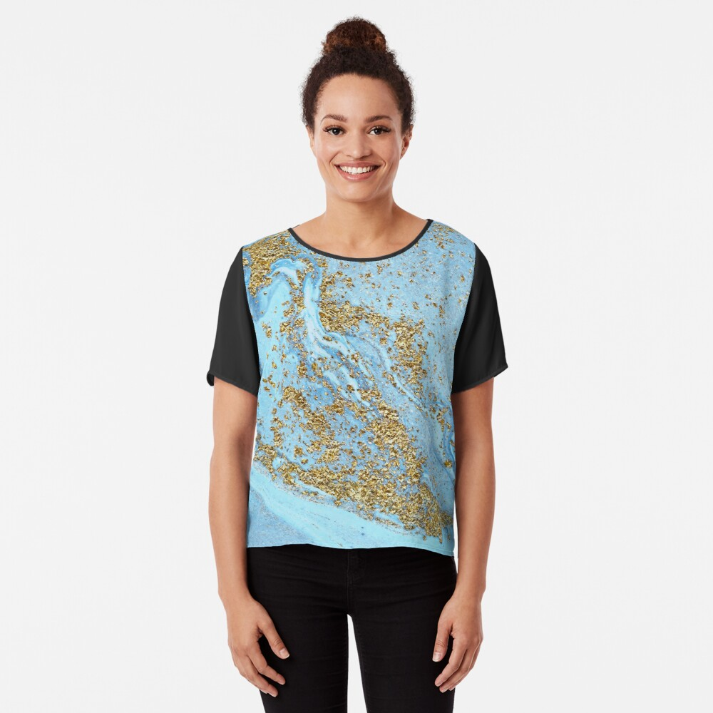 Blue Agate Marble With Gold Glitter Chiffon Top