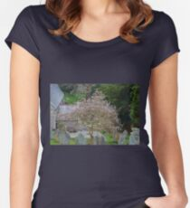 Soft Magnolia blooms compliment the Gravestones... Women's Fitted Scoop T-Shirt