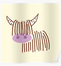 Highland Cow Cream Poster