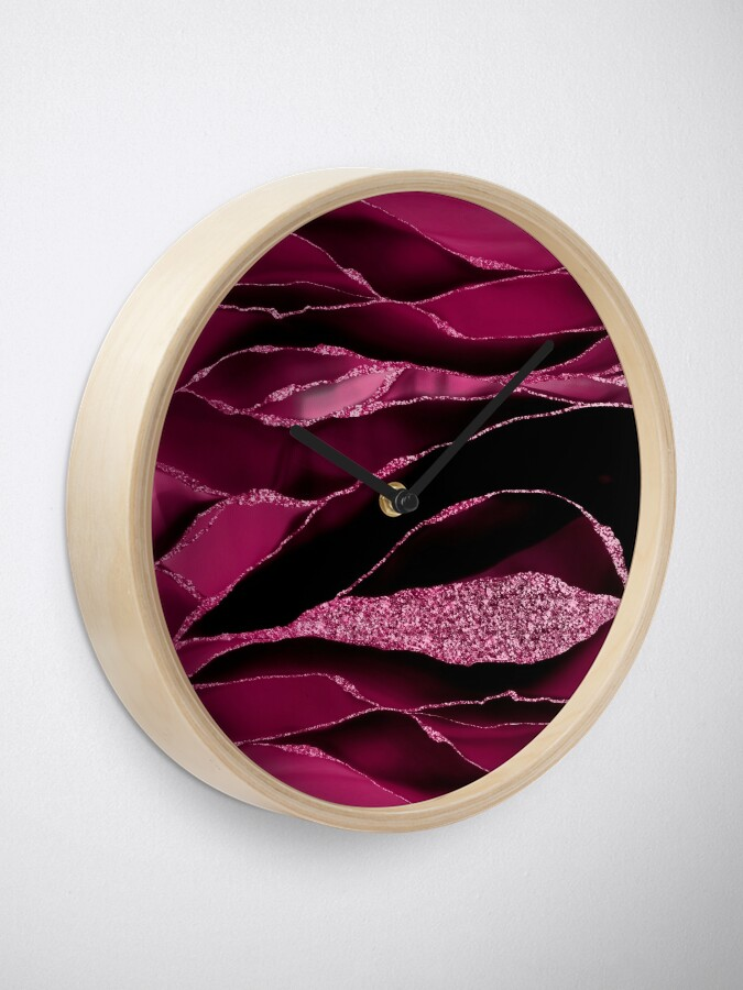 Alternate view of Purple And Deep Red Glamour Marble And Agate Landscapes Clock