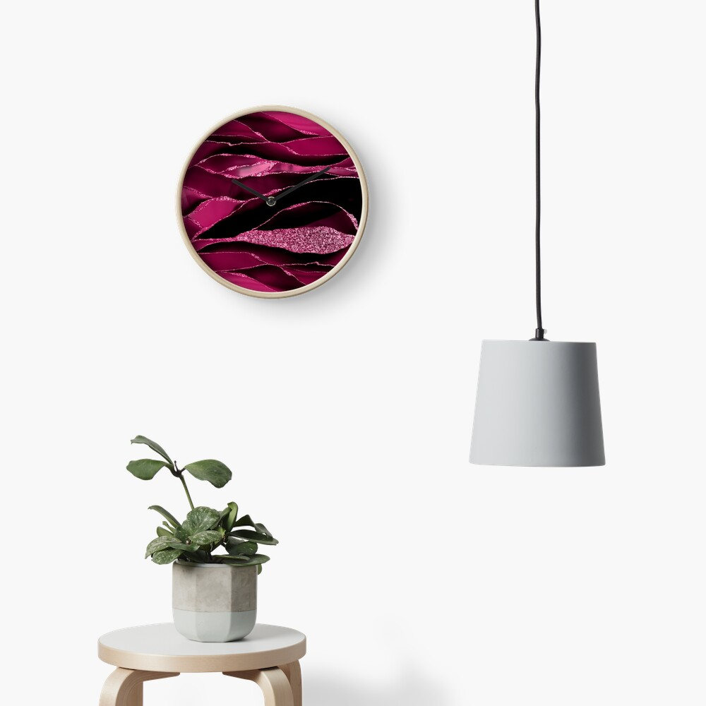 Purple And Deep Red Glamour Marble And Agate Landscapes Clock